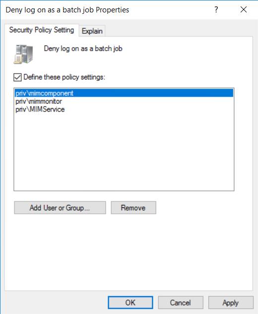 Deny log on as a batch job