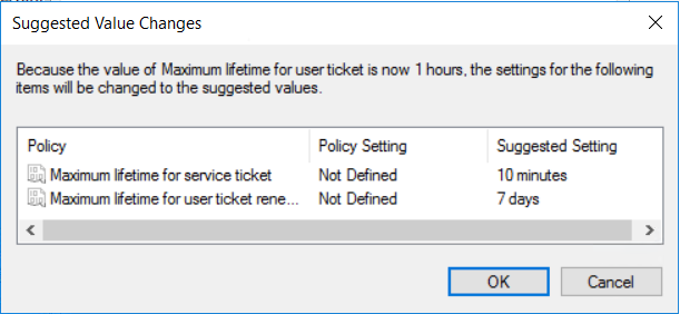 POPUPMaximum kerberos ticket