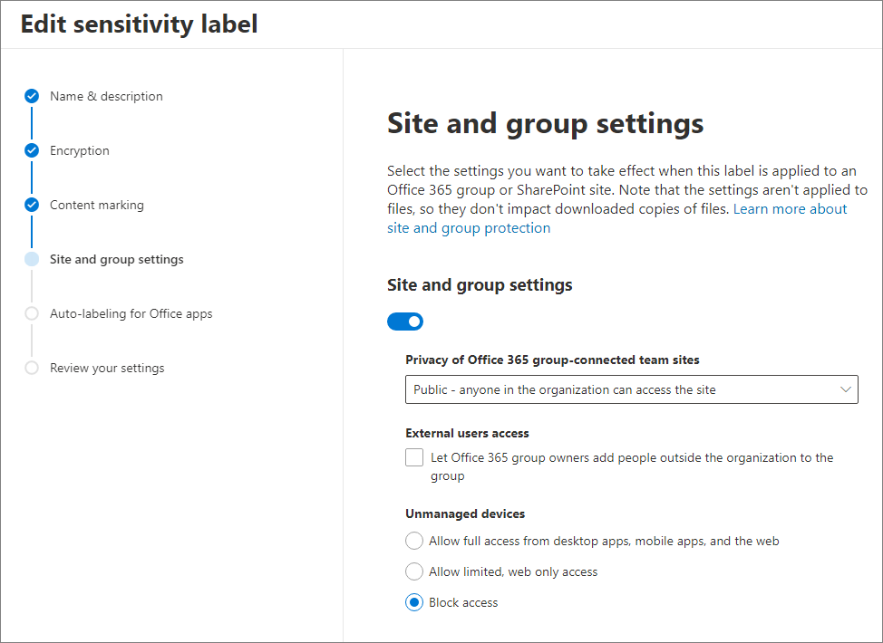 The site and group settings tab